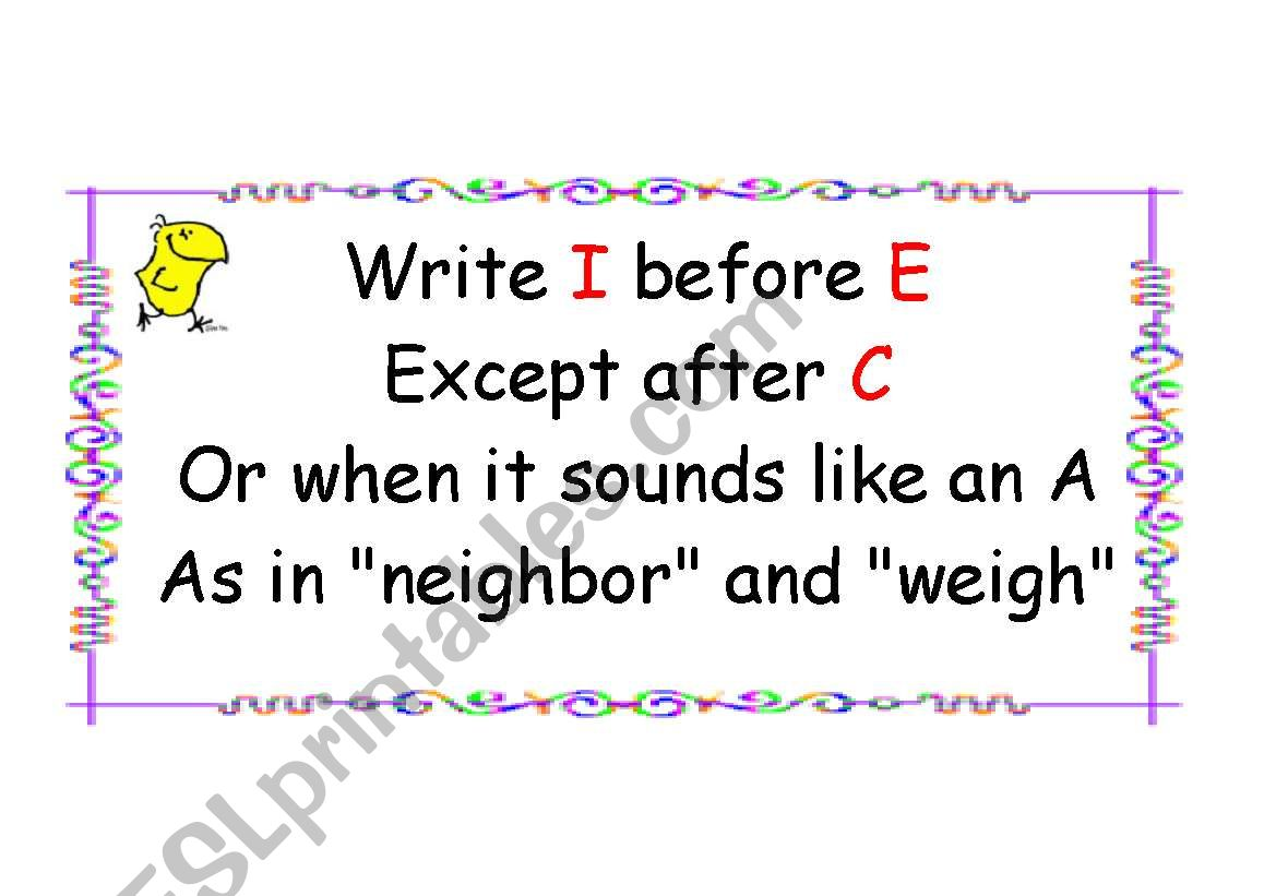 English Worksheets Spelling Rule 2 Ie Ei