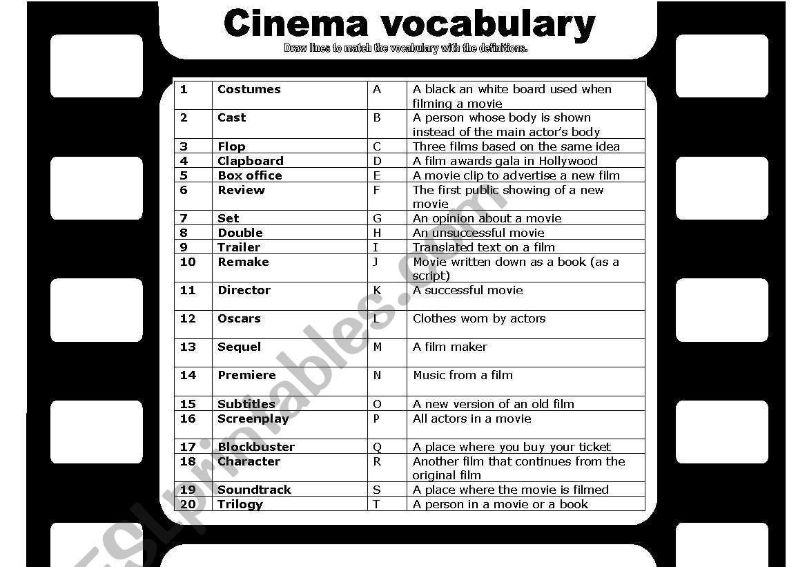 Cinema And Film Vocabulary