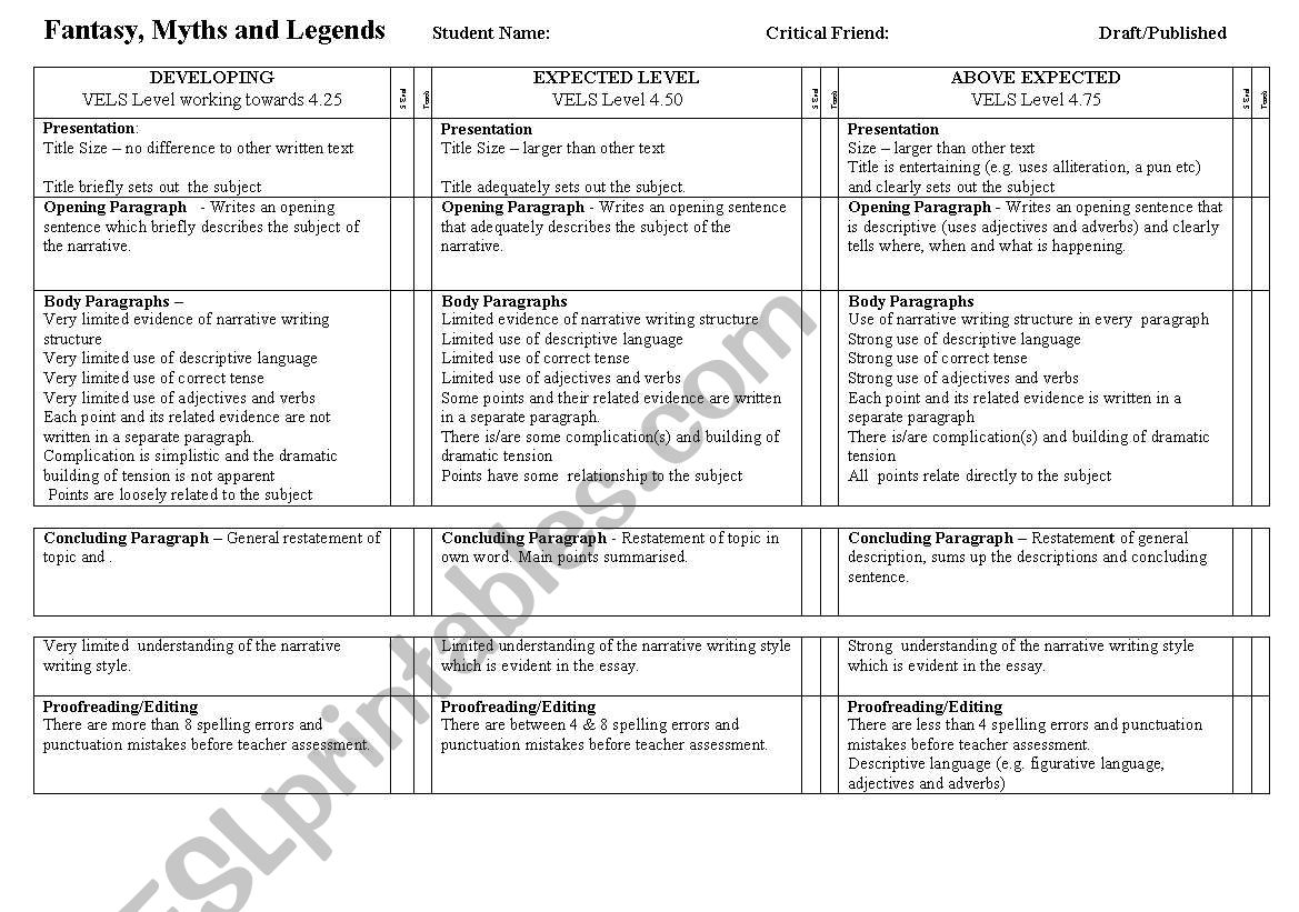 English Worksheets Rubric Fanatsy Myths And Legends