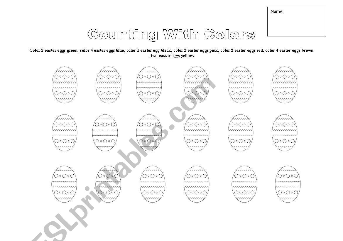 English Worksheets Easter Egg Counting
