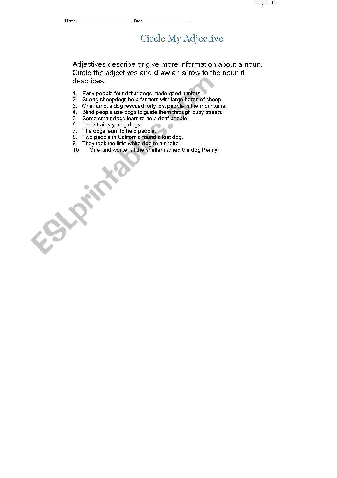 English Worksheets Circle Adjectives