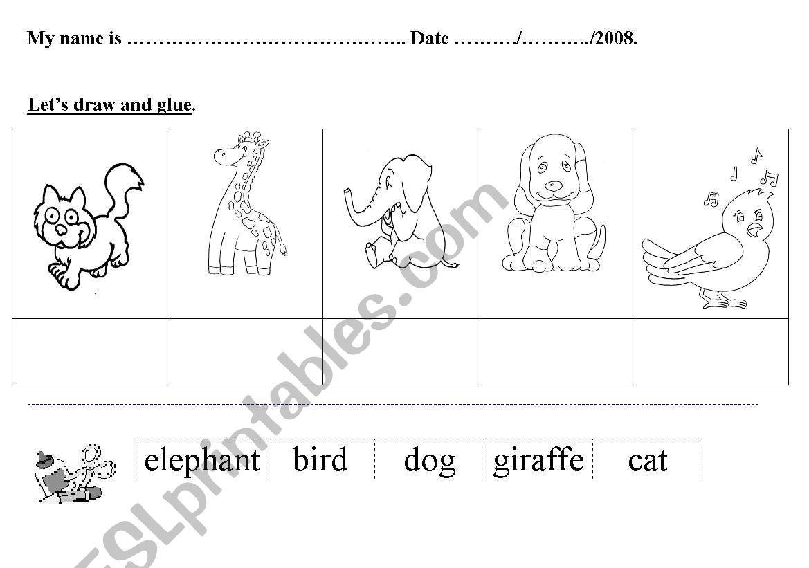 English Worksheets Animal Bird Elephant Giraffe Dog