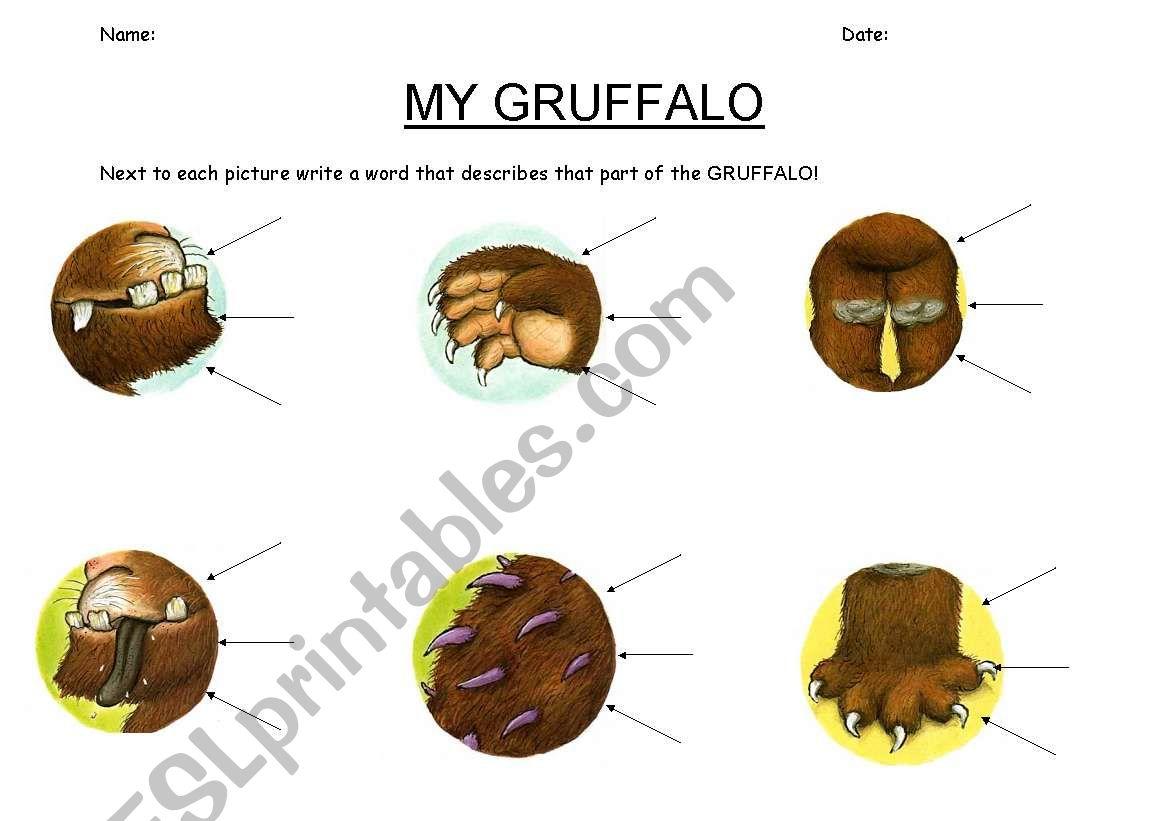 English Worksheets My Gruffalo