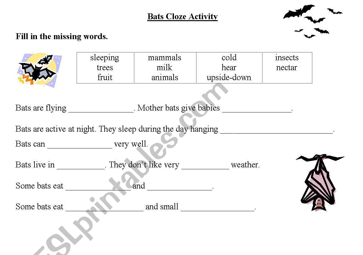 English Worksheets Bats Cloze Activity