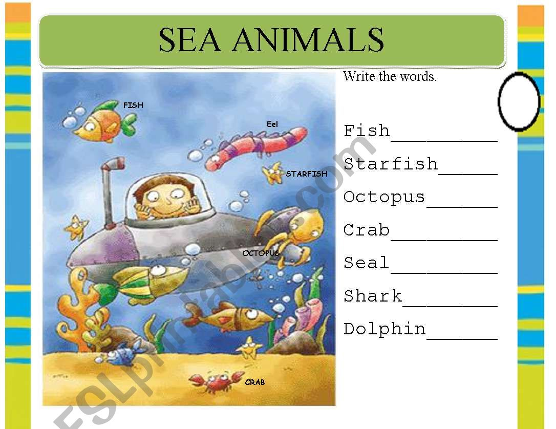 Sea Animals Pre Writing