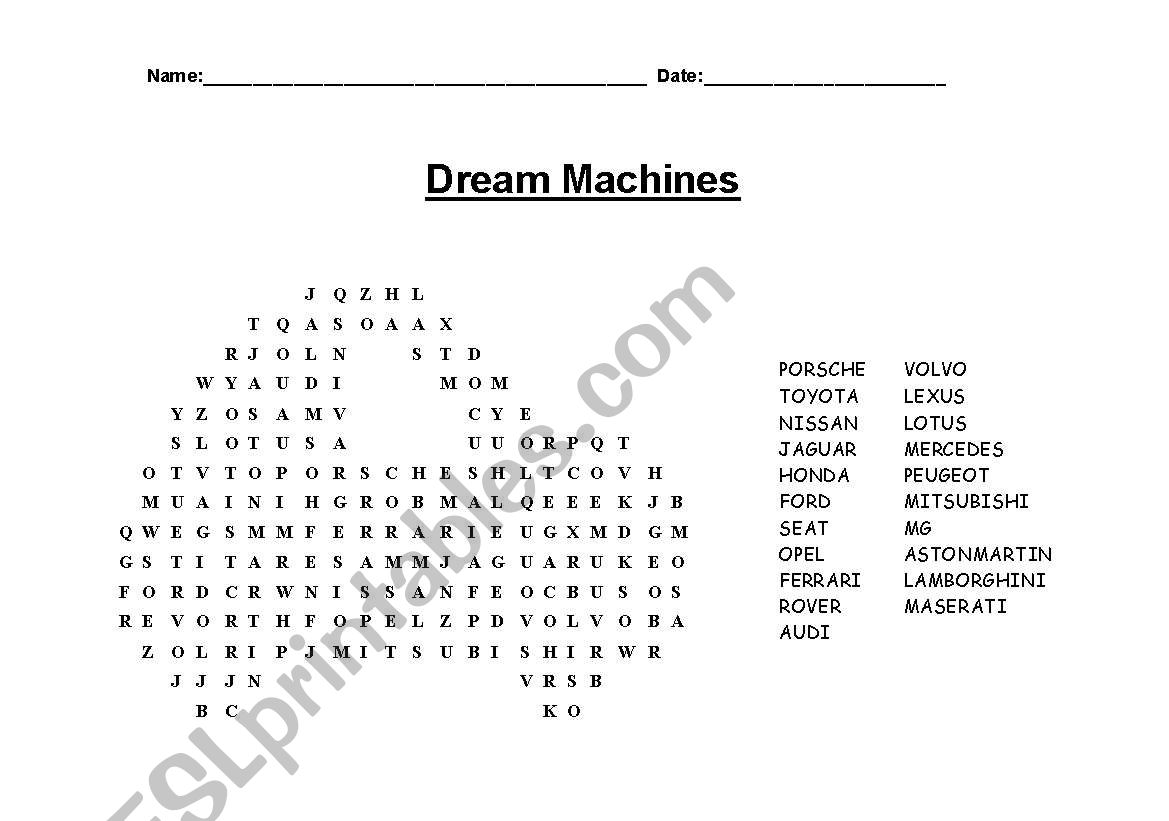 Cars Wordsearch