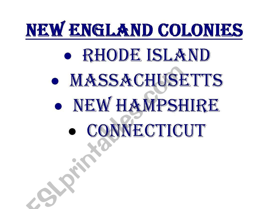 English Worksheets 13 Colonies