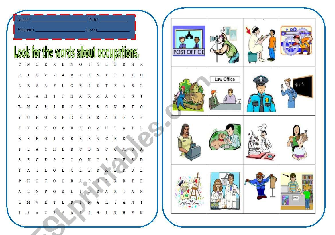 Wordsearch Of Occupations