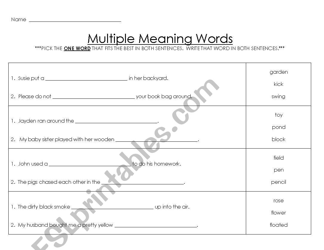 English Worksheets Multiple Meaning Words 2
