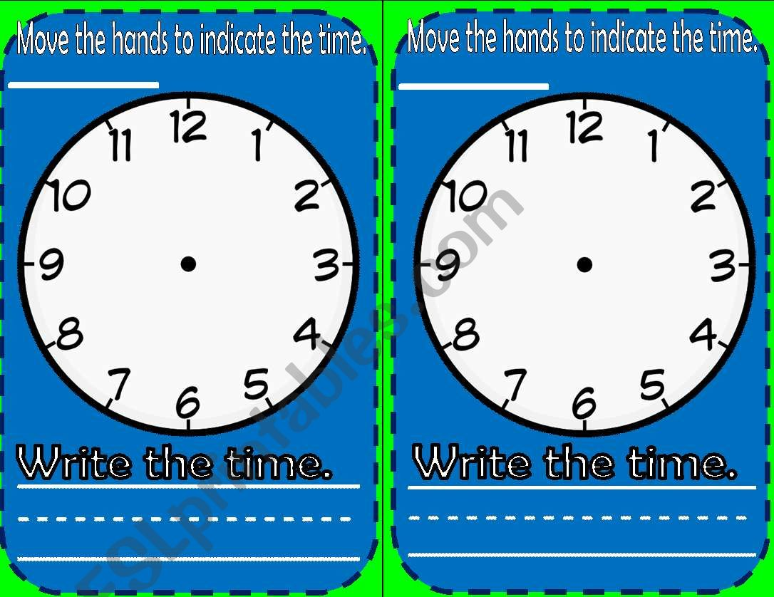 Telling Time Flash Card Practice