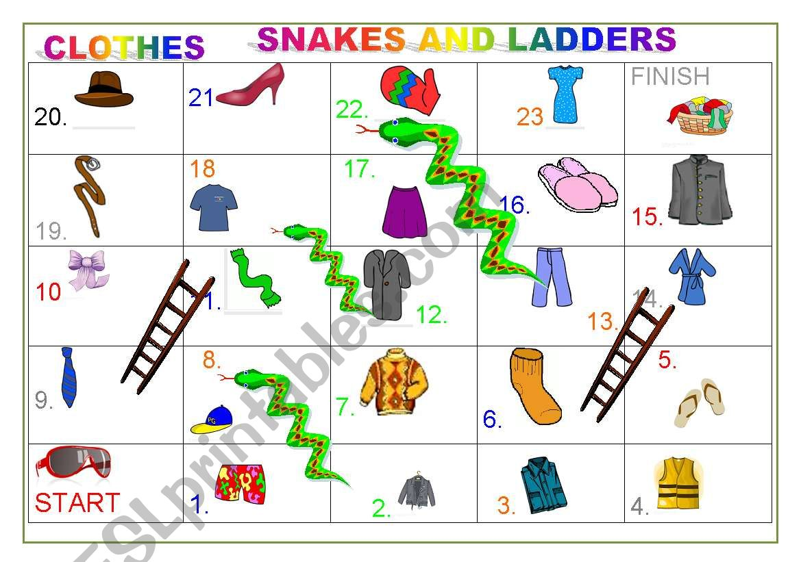 Clothes Snakes And Ladders Game