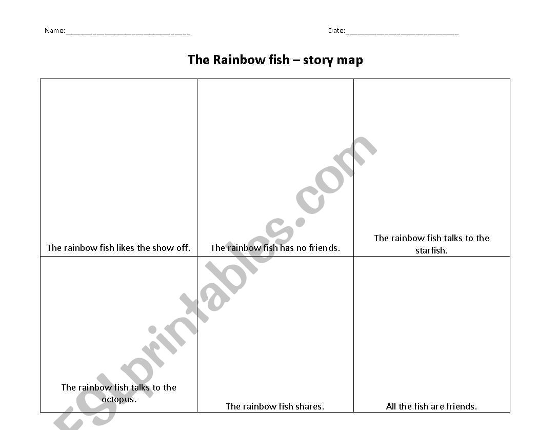 English Worksheets Rainbow Fish Story Maps