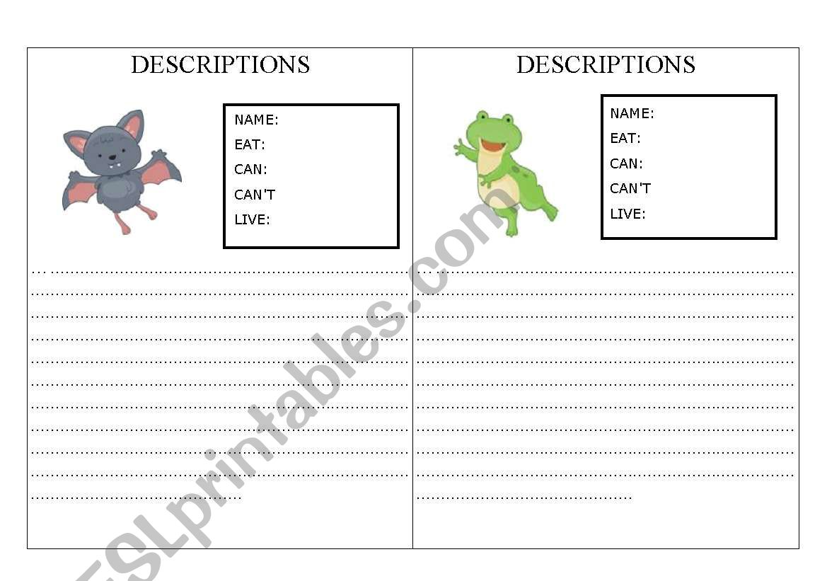 English Worksheets Animals Description
