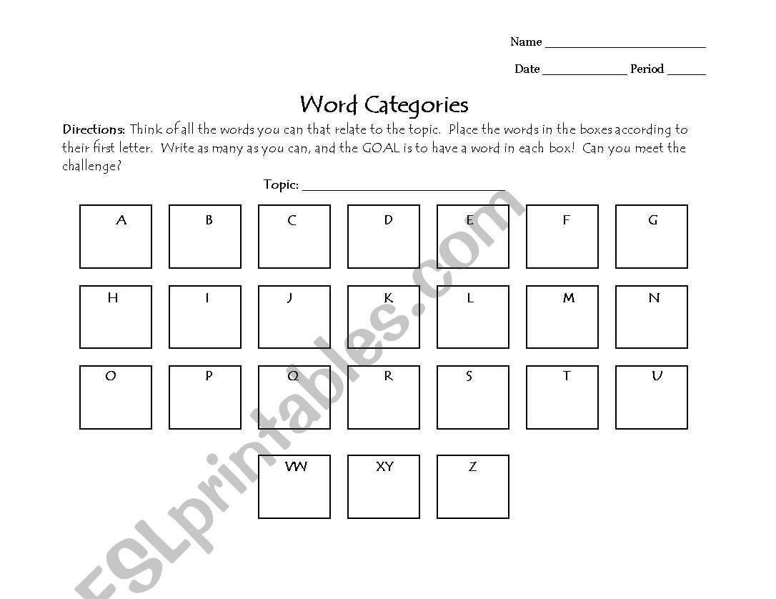 English Worksheets Abc Box Chart