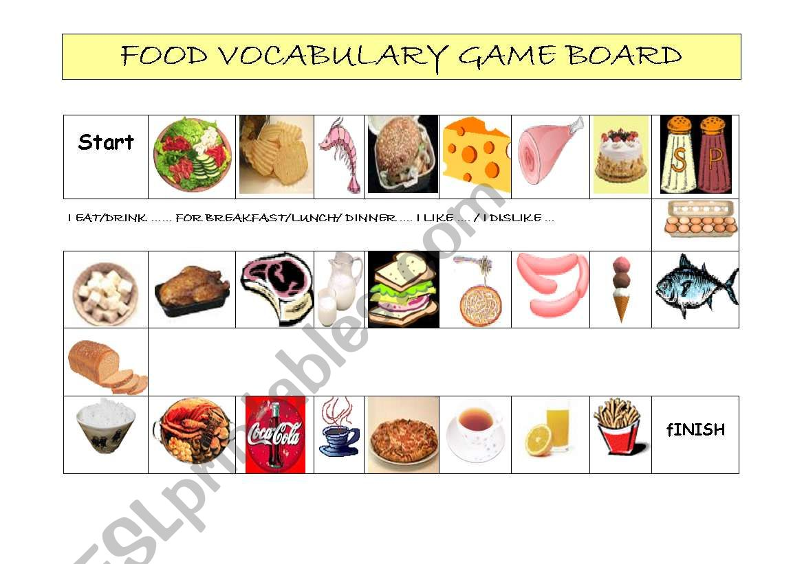 Food Vocabulary Game Board