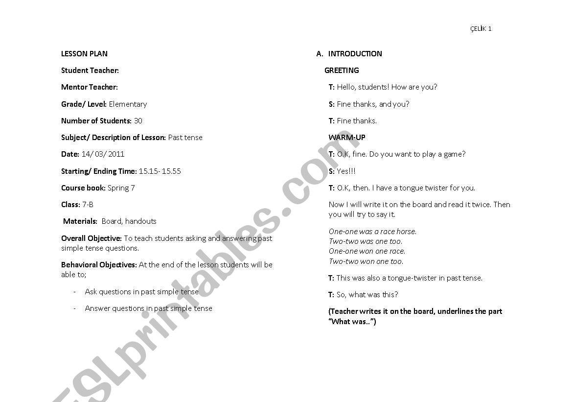 Past Tense Worksheet For Grade 2