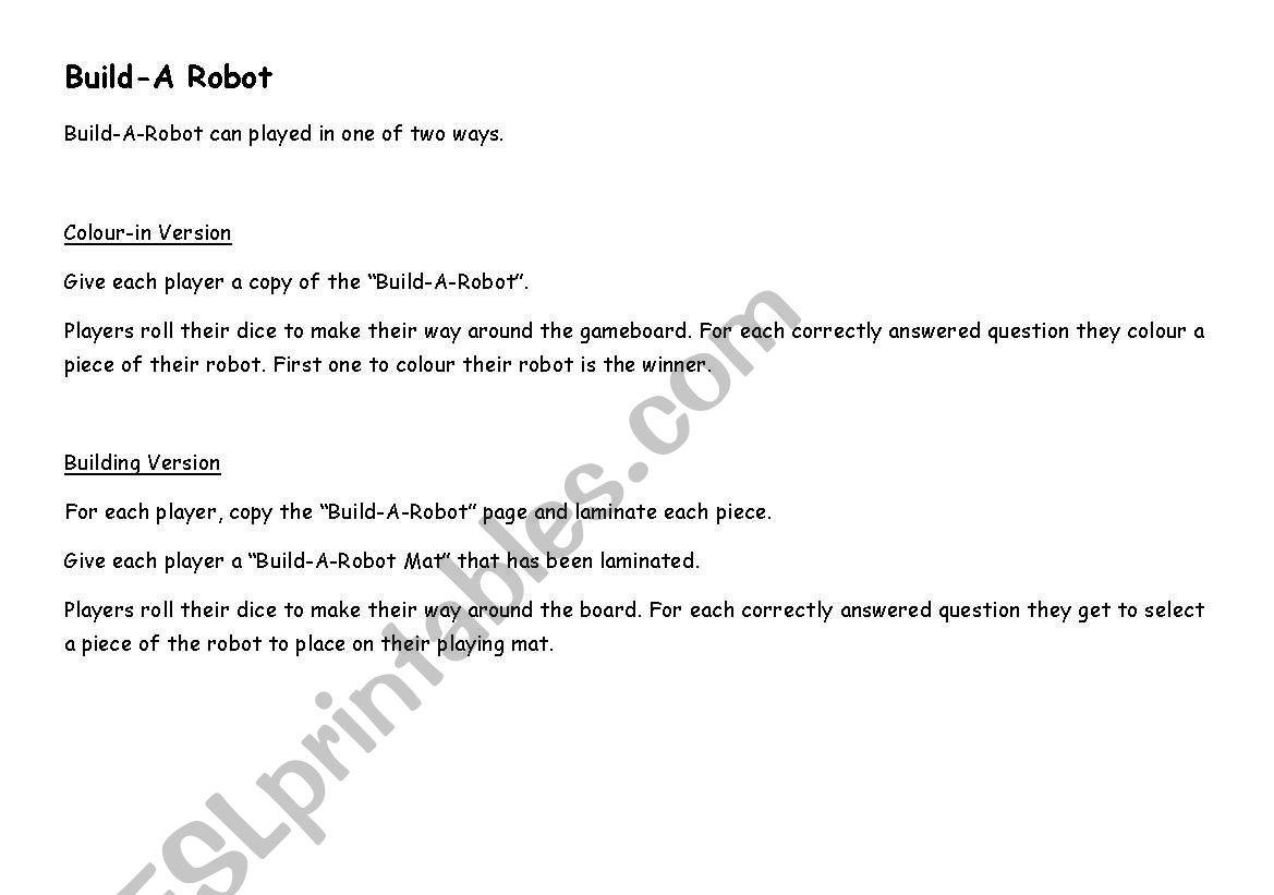Build Vocabulary Worksheet