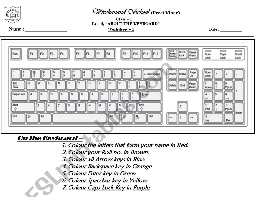 English Worksheets Computer Keyboard