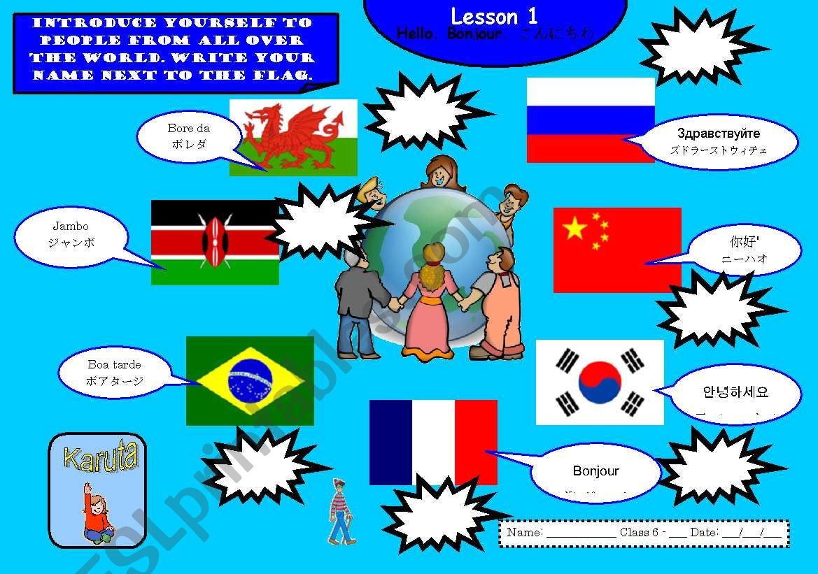 English Worksheets Hello Njour Konichiwa