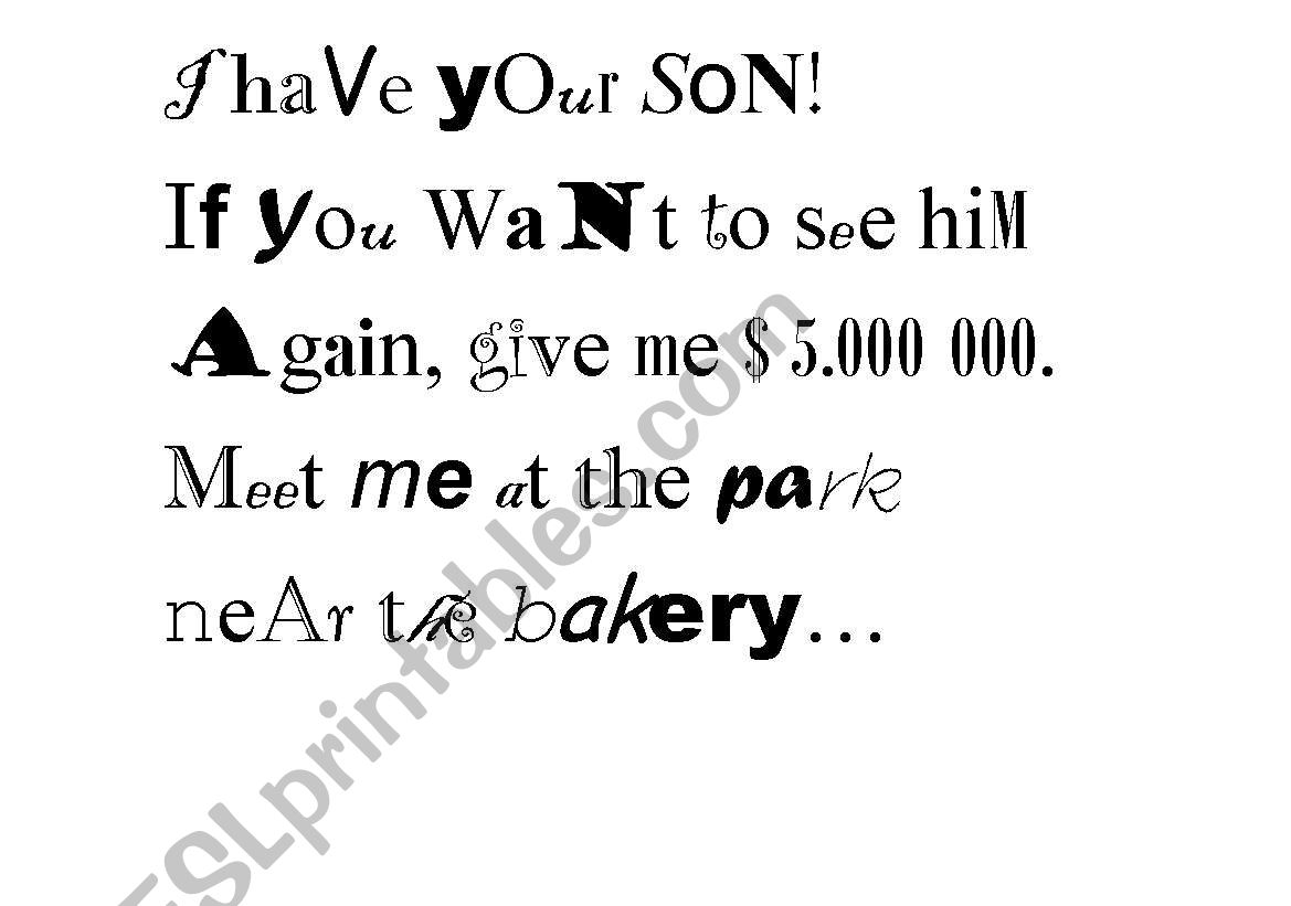English Worksheets Ransom Note