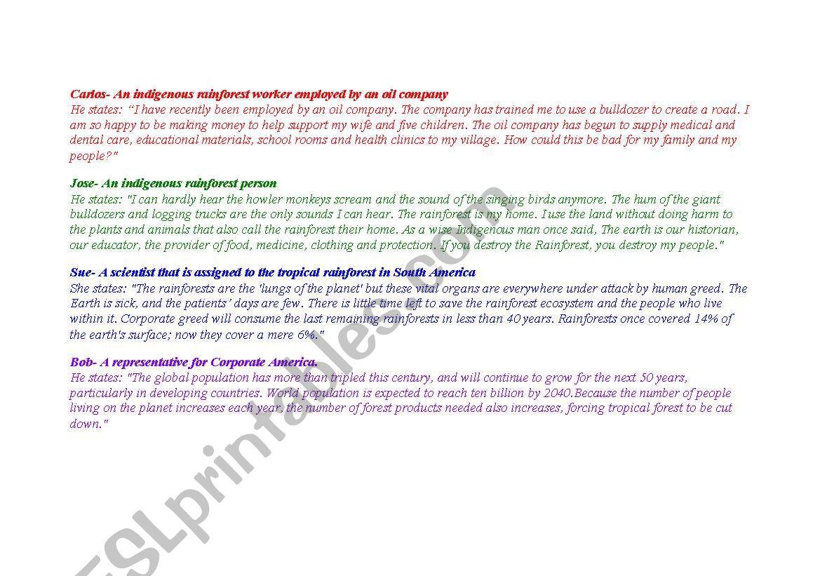 English Worksheets Rainforest Debate