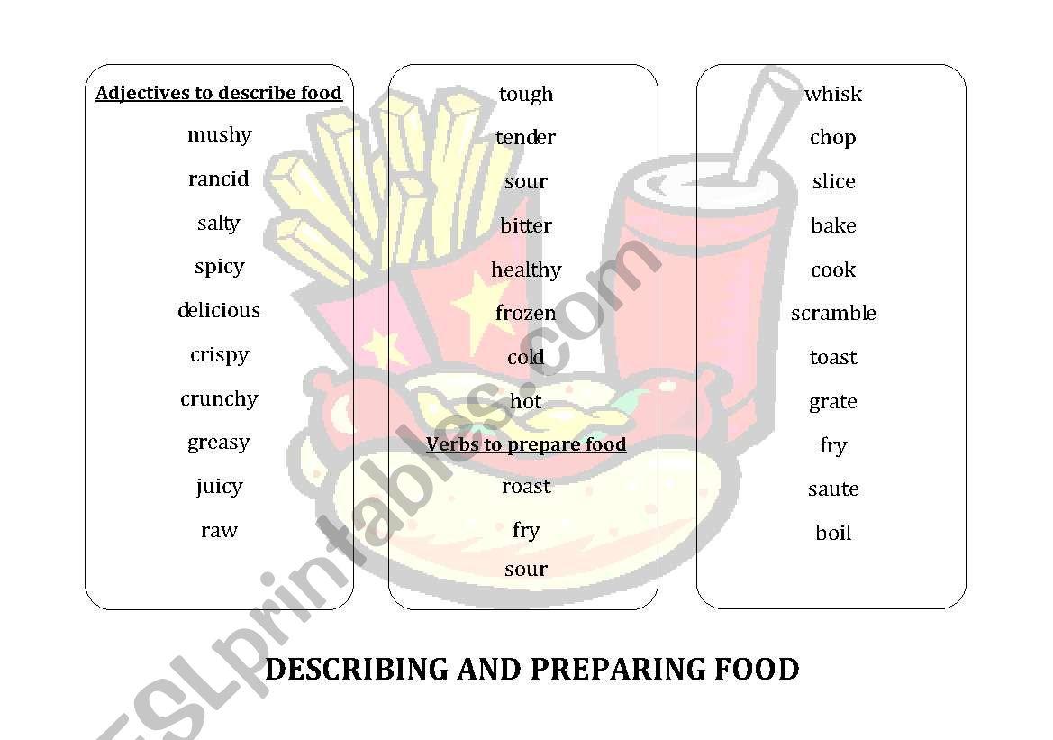 Preparing And Describing Food Worksheet Vocabulary