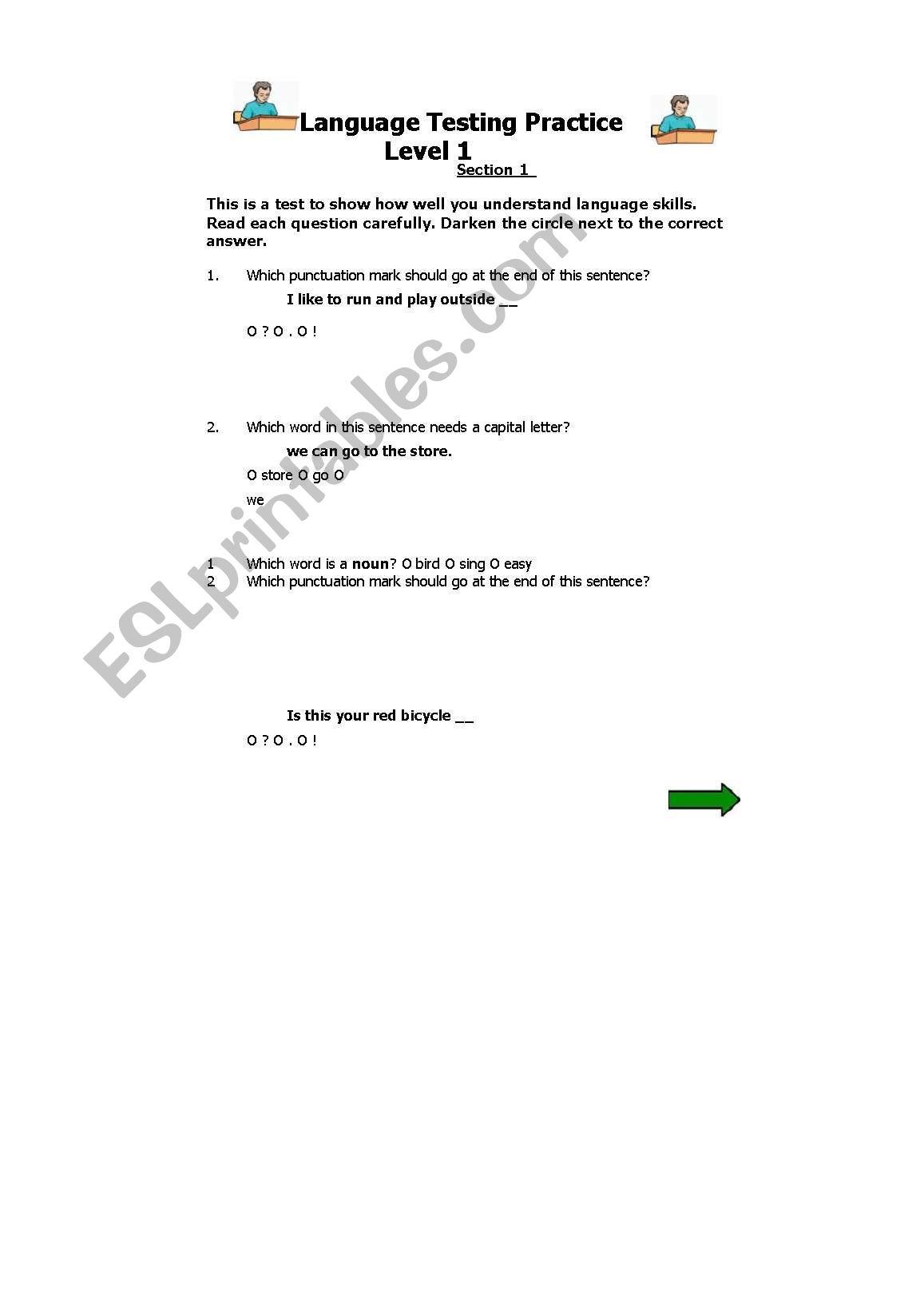 English Worksheets Language Testing Practice Level 1