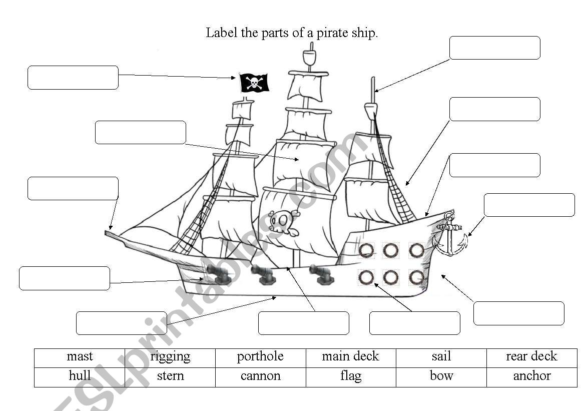 Label The Pirate Ship