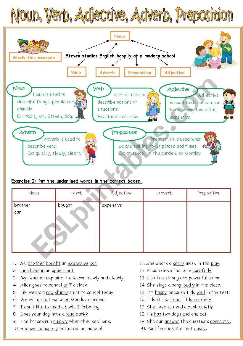 English Worksheets Re Uploaded Worksheet Noun Verb
