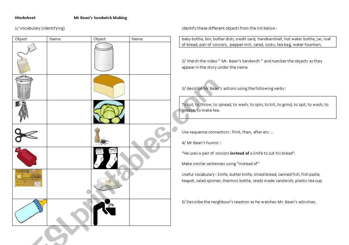 Worksheet For The Video Mr Beans Makes A Sandwich