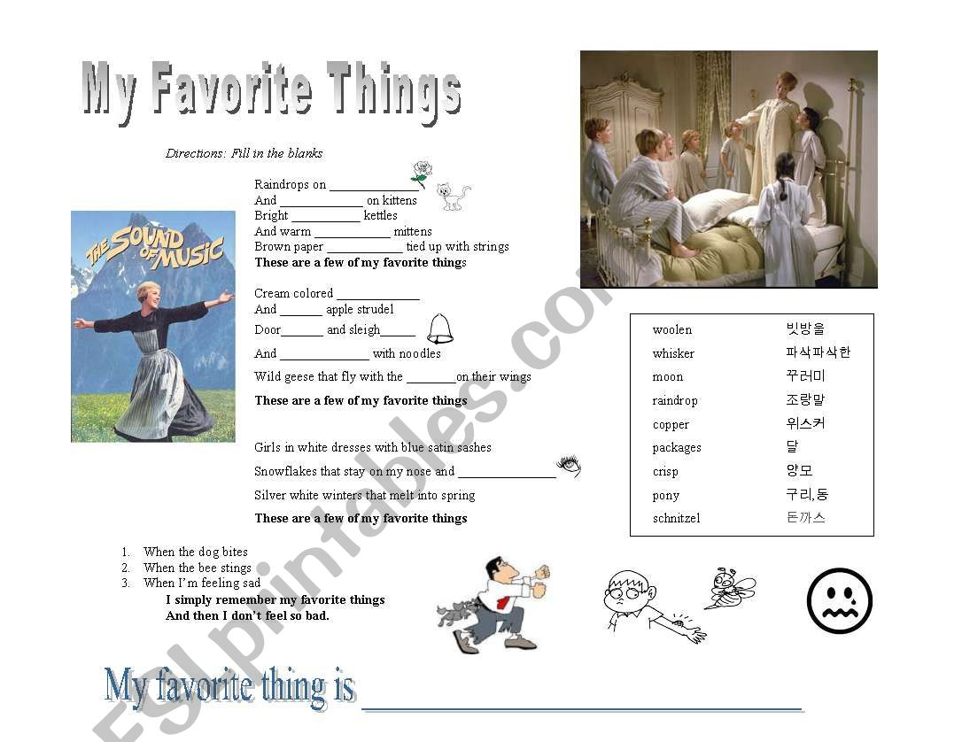 My Favourite Things Lesson