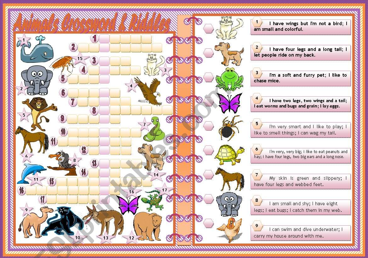 Animals Crosswords Amp Riddles Teacher S Handout With Keys 2 Pages Editable