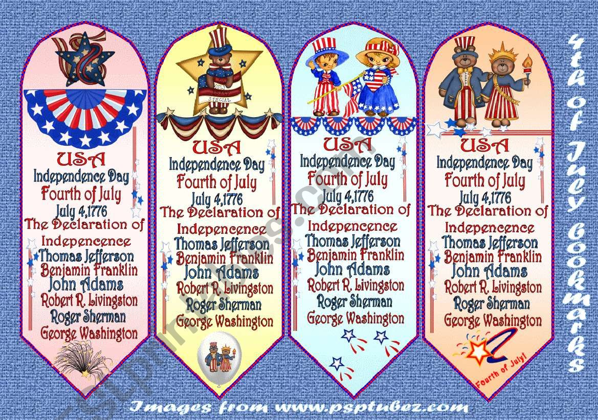 4th Of July Bookmarks