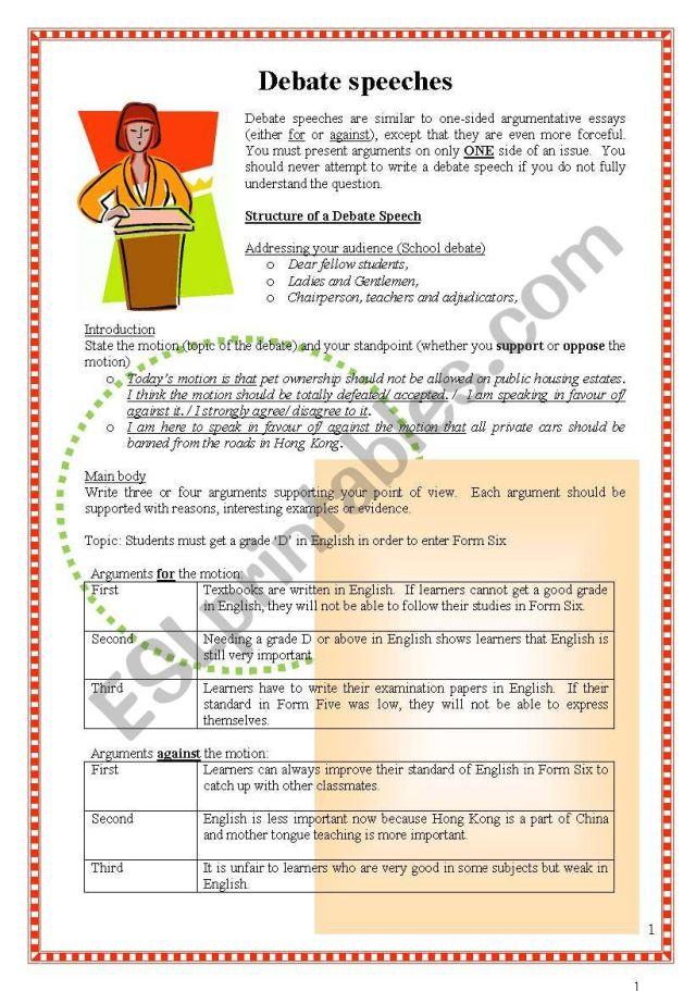 How to write debate speeches? - ESL worksheet by steptong