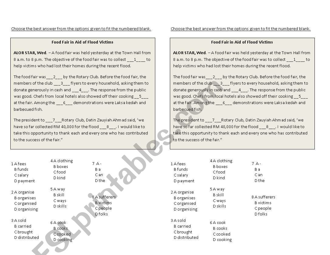 English Worksheets Flood Worksheet