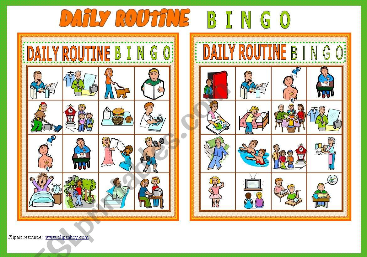 Daily Routine Bingo Game 10 Cards List Of Vocabulary Instructions Fully Editable