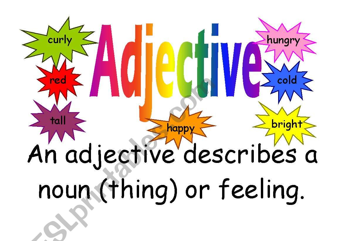English Worksheets Adjective Poster