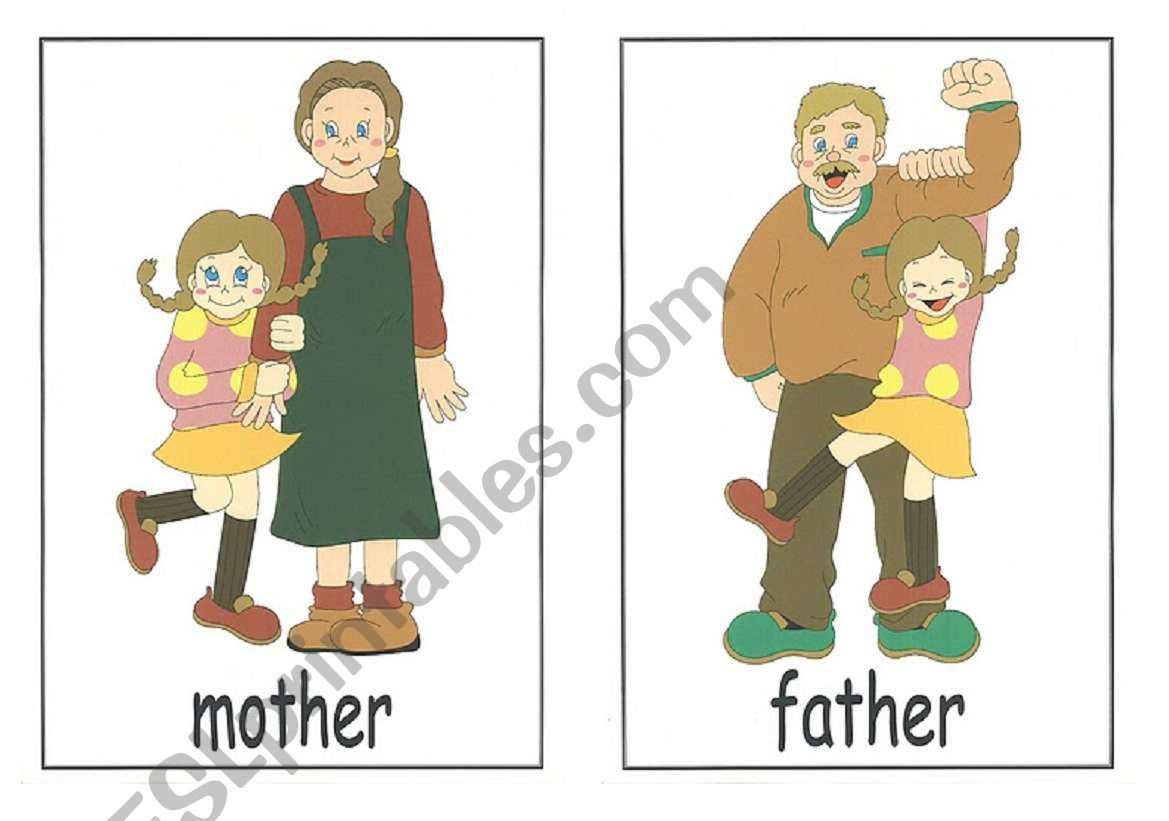 Family Members Flash Cards