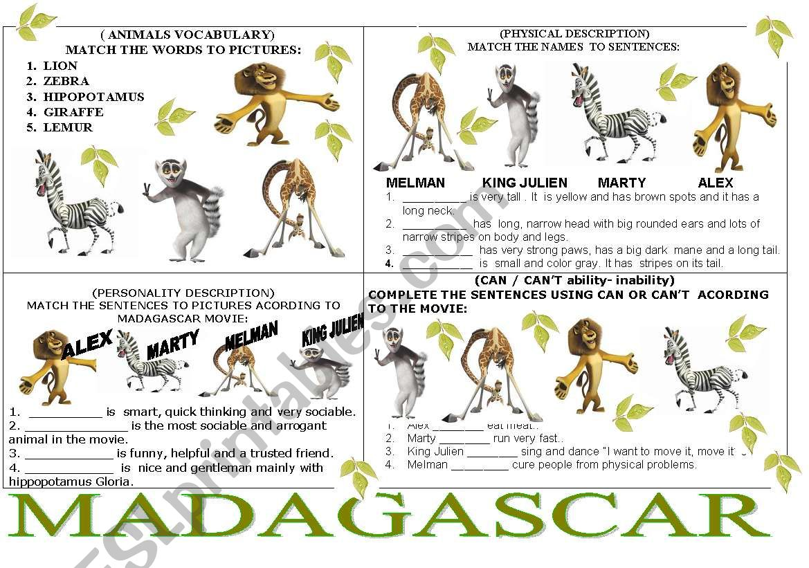 Madagascar 4 Exercises In One Page