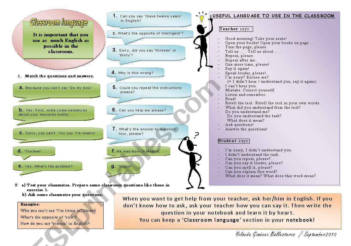 Let S Use English In The Class Classroom Language