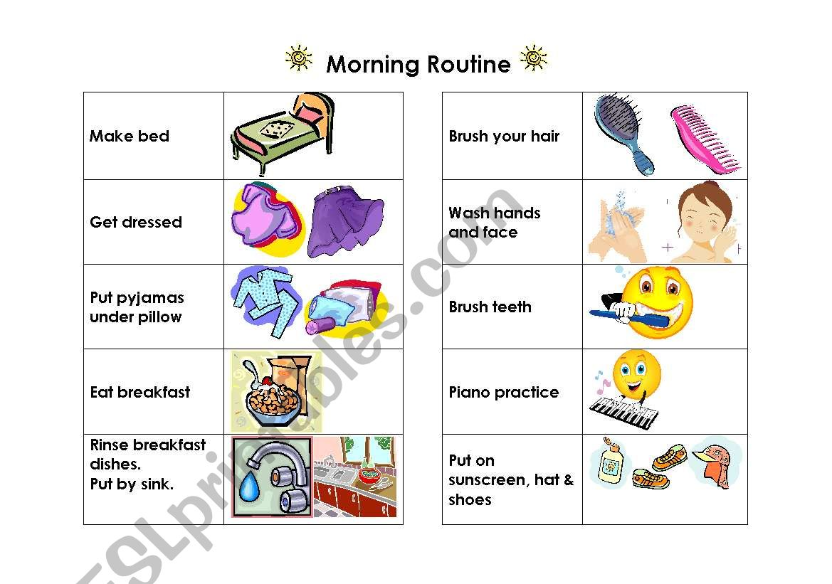 Morning Routine Visual Reminder Chart