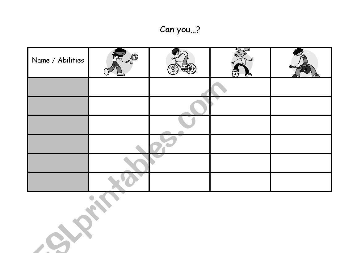 English Worksheets Abilities