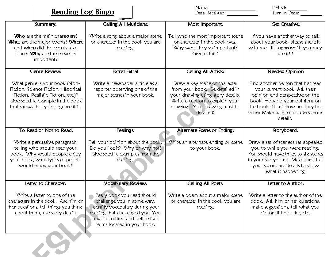 English Worksheets Reading Log Bingo