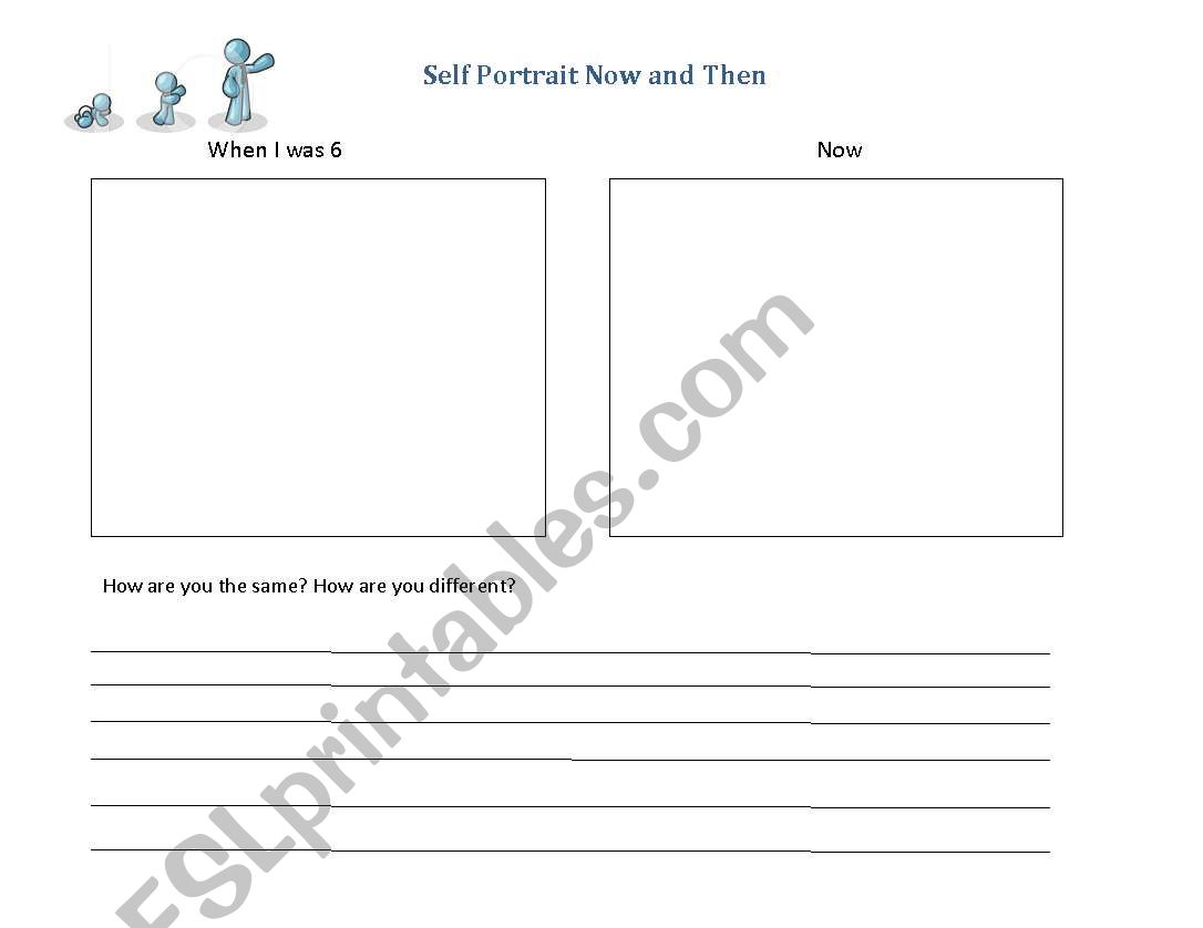 English Worksheets Self Portrait Now And Then