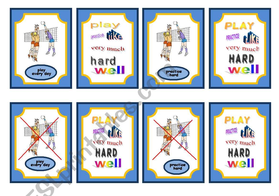 Sports Simple Present And Adverb Game Cards Set 5 Of 5