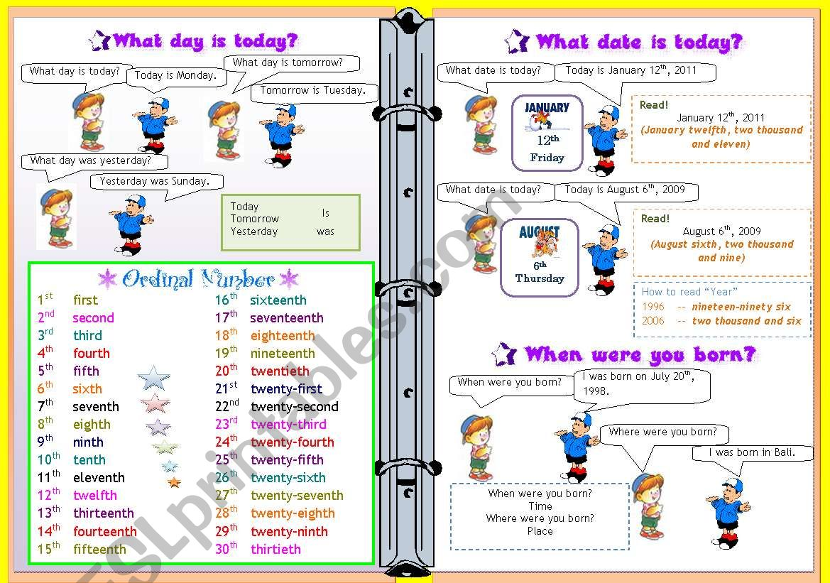 What Day Is Today Ordinal Number Date Birthday
