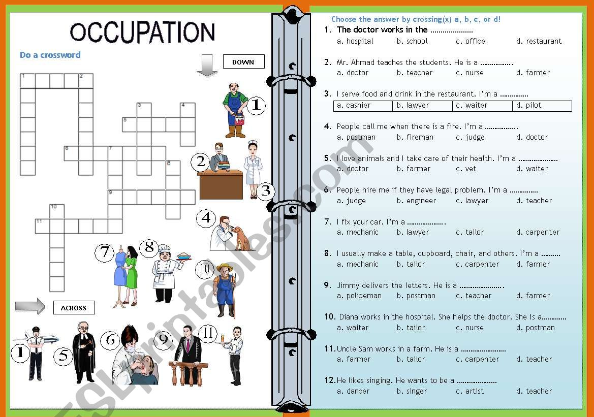 Occupation Crossword And Multiple Choice