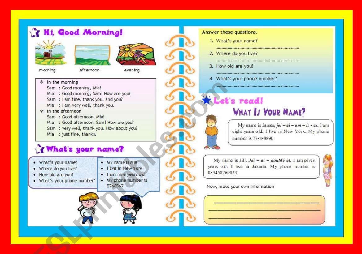 Greeting Simple Personal Information Simple Reading