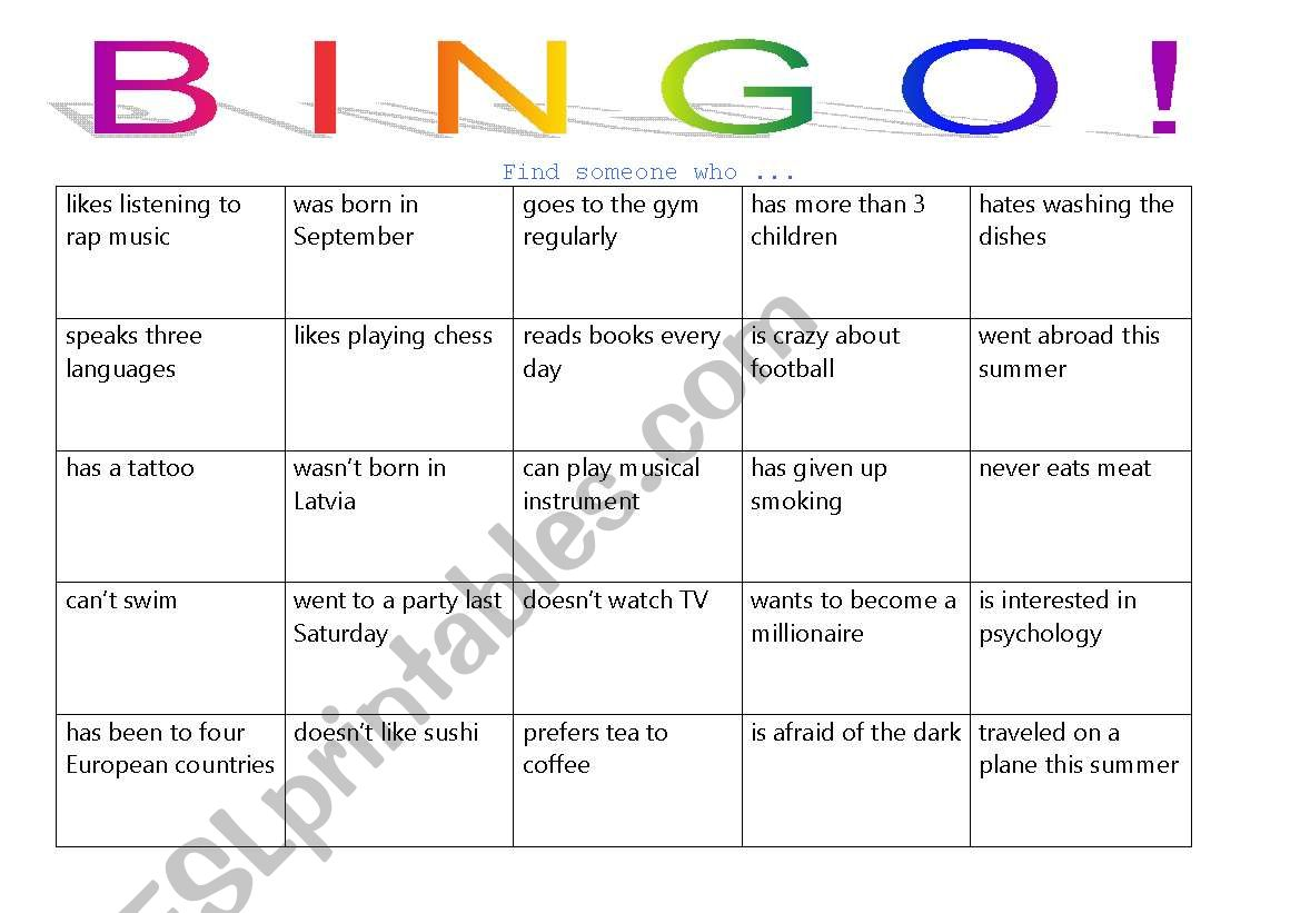 People Bingo Game For Adults