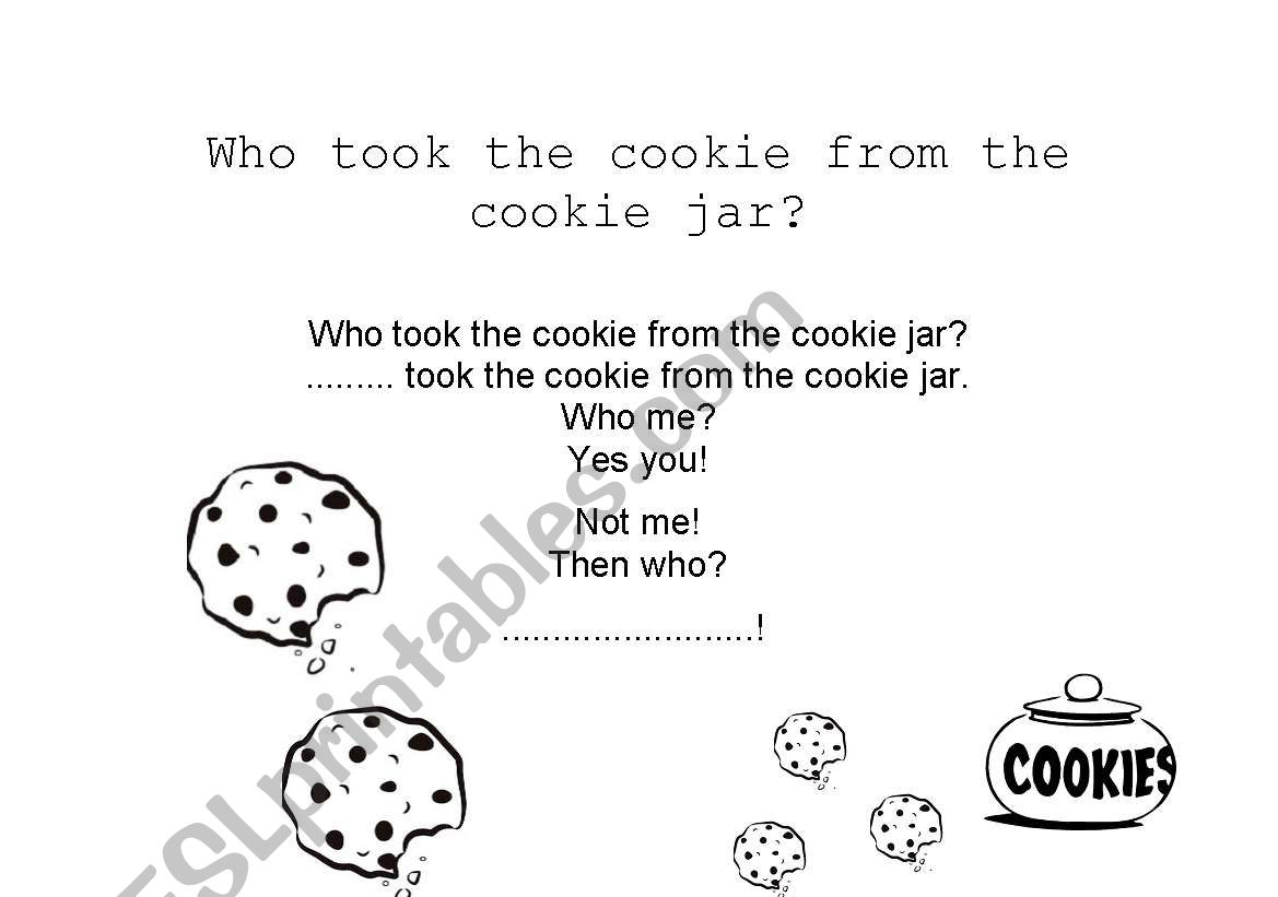 English Worksheets Who Took The Cookies From The Cookie Jar